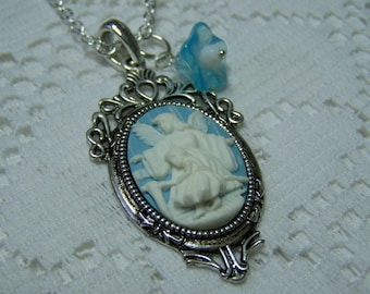 Guardian Angel Necklace,  Angel and Child, Religious Necklace, Catholic Necklace, Blue and White Cameo