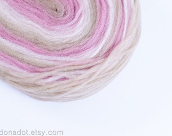 Thin Wool Pencil Roving, For Spinning, Felting or Knitting, Beige, Light Pink and Vanilla White