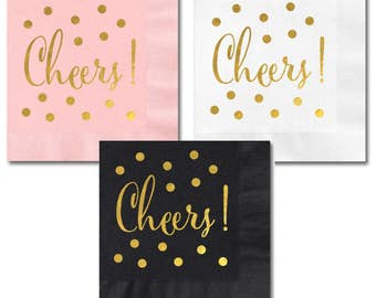 Party gold foil napkins, Cheers / Bridal Shower party napkins, Dessert Table napkins - Set of 25