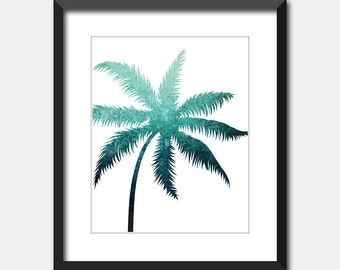 Palm Tree Art Print, Teal Blue Printable Art, Tropical Art Instant Digital Download, Turquoise