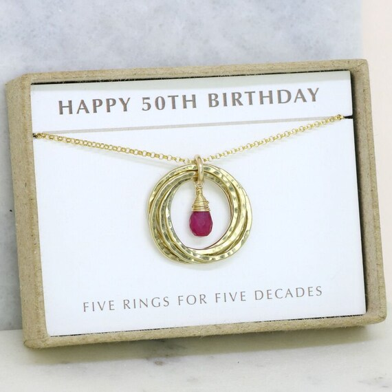 50th Birthday Gift Ruby Necklace 5 Rings For 5 Decades July