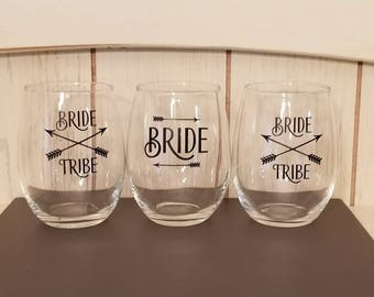 Bride & Bride Tribe Stemless Wine Glasses