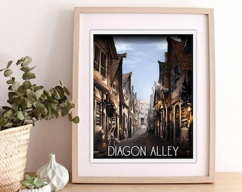 Diagon Alley Poster, Harry Potter Art, Harry Potter Diagon Alley, Harry Potter Wall Art, Movie Posters, Diagon Alley Harry Potter Poster