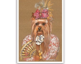 Yorkie Art Print / Princess of Japan / Yorkshire Terrier / Dog Lover Gifts & Wall Art / Dog Portraits by Animal