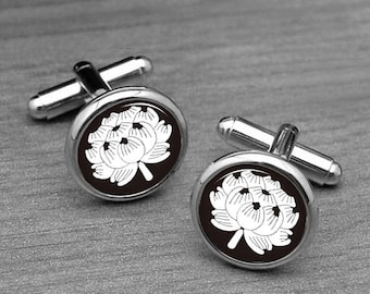 Cuff links, Lotus Cuff links, Custom Cufflinks, Men's Gifts, Handmade mens, studs, gifts, father, uncle, Dad,  cuff links and tie clips