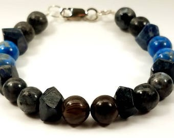 Natural Stone and Sterling Silver Mens Bracelet