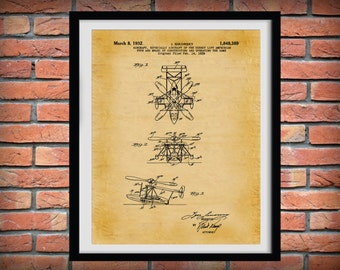 Patent 1932 Sikorsky Helocopter - Art Print - Wall Art - Poster - Aeronautic - Aviation - Airport Art - Direct Airlift Aircraft - Chopper