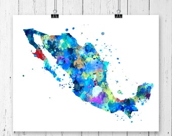 Mexico Watercolor Map #1 Art Print, Poster, Wall Art, Contemporary Art, Modern Wall Decor, Office Decor