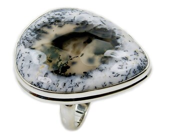 Large Dendritic Opal Ring - Sterling Silver Ring Size 8.75 , AF671 Jewelry