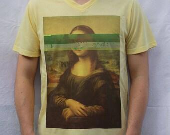 Mona Lisa - Leonardo da Vinci T shirt, Glitch Design