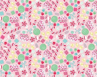 OOP HTF one yard Sugar Rush Fabric Christmas Candy Christmas Xmas Holiday Tossed Candy Canes and Peppermint Swirls on Pink