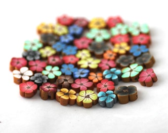 Flower Beads, Polymer Clay Beads, Rainbow Mix, Grab Bag of 50 Pieces