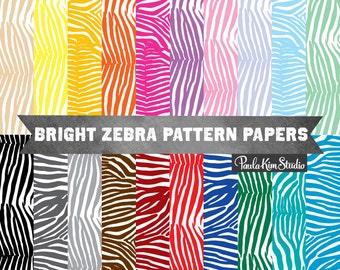 Animal Print Zebra Digital Paper - Digital Scrapbook Instant Download