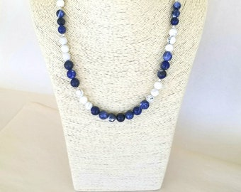 Sodalite and Howlite Statement Necklace // Blue and white // Sodalite necklace // Nautical