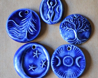 5 Handmade Ceramic Blue Pendants - Tree of Life, Moon, Triple Goddess, and more - Supplies for Winter Solstice Gifting - Handmade Beads