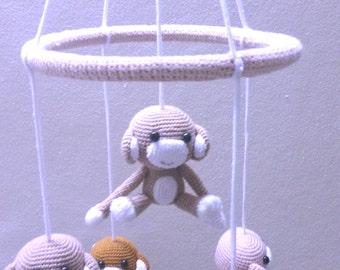 Crochet Mobile, Baby Mobile, Neutral nursery Mobile.
