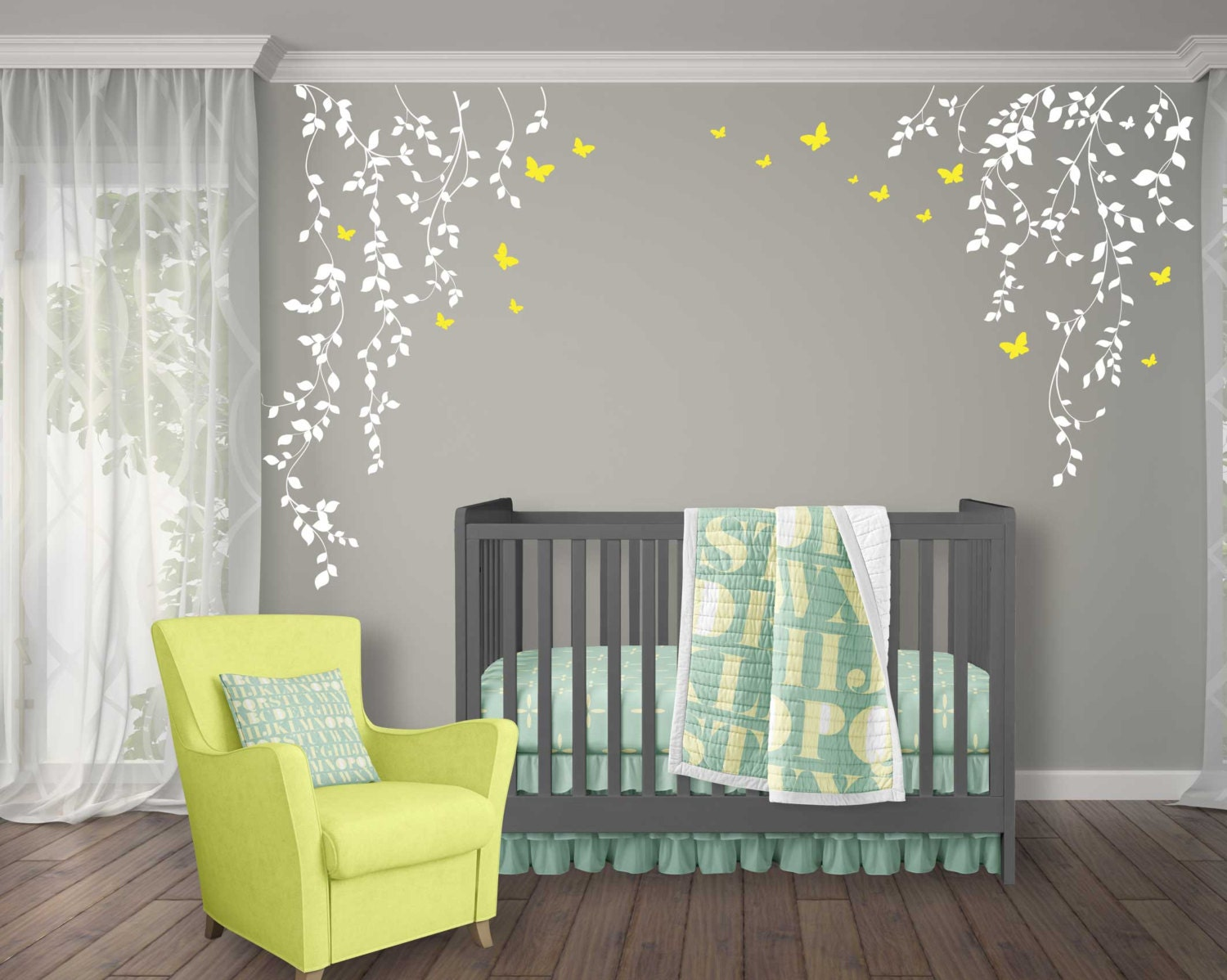 Nursery Wall Decor Vine Wall Decal For Baby Girl Nursery Décor Wall Vines