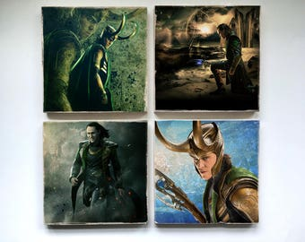 Loki Stone Coasters (set of 6) - Asgard Mythos God of Mischief Comics Thor The Avengers Evil Villain Marvel Fantasy Tom Hiddleston Norse