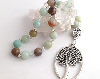 Flower Amazonite Pocket Prayer Beads // Tree of Life // Gaia // Danu // Pagan // Wiccan // Druid
