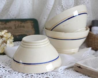 Set of 3 Vintage French Ironstone Bowls - Sarreguemines