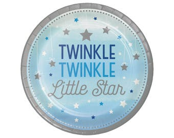 "7"" Cake Plates - Twinkle Twinkle Little Star First Birthday - Twinkle Twinkle Little Star Baby Shower - Star Plates - Twinkle Twinkle Plates"