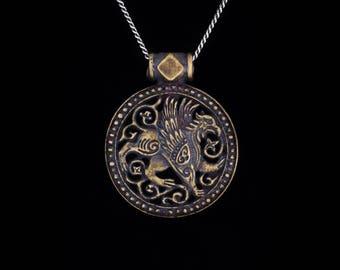 Gryphon Pendant, brass, handmade ..... Griffin Pendant, medieval, celtic