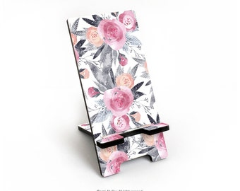 """iPhone 6S Plus Stand, """"Winter Rose"""" I. Abolina, Floral iPhone 6S Stand, Wood Print Print Docking Stand Samsung, Floral Smartphone Stand 43."""