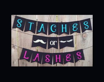 Staches or Lashes Banner | Staches or Lashes Gender Reveal Banner | Gender Reveal Banner