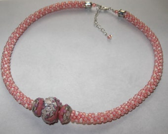 Antique Rose Kumihimo Necklace
