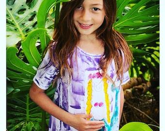 Girls Sundress - Girl Summer Dress  - Kauai Hawaii Mermaid - Mermaid Dress - Hawaii Girl Gift - hand painted  Dress - purple pink aqua
