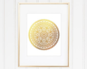 Gold Mandala Print, Mandala Art, Mandala Wall Decor, Mandala Poster, Meditation Art, Yoga Art, Hindu Decor, Zen Art, New Age Art, Gold Print