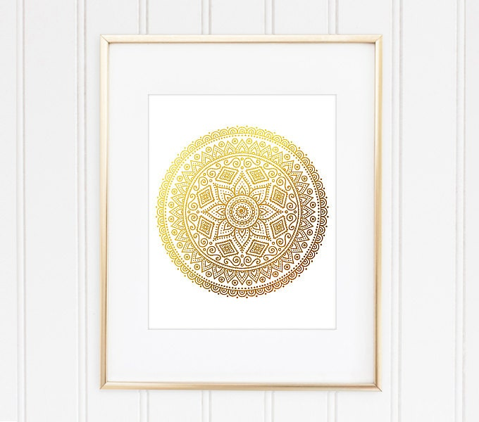 Gold Mandala Print Mandala Art Mandala Wall Decor Mandala