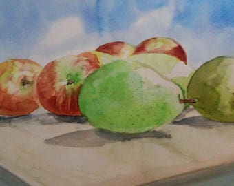 """Watercolor Painting - """"Pears and Apples"""""""