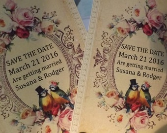 Love Birds Save the Date Cards Invitations Save the Date Invite Save the Date Card Vintage Victorian Love Birds and Roses