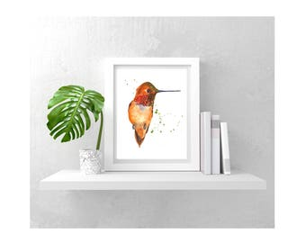 Ready to Frame Hummingbird  Print - watercolor hummingbird