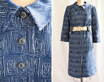 1960s Spring Coat | Rippled Tide | Vintage 60's Trench Coat Blue Geometric Print Vintage MacIntosh Jacket Side Pockets Sz. M/L