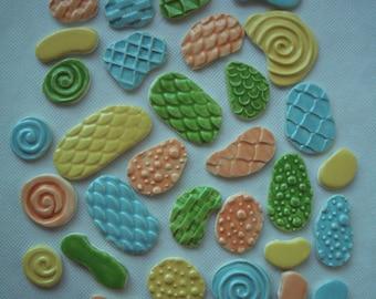 SALE PRICE - B31 - 31 pc Colorful TEXTURED Tiles - Mosaic Ceramic Tiles