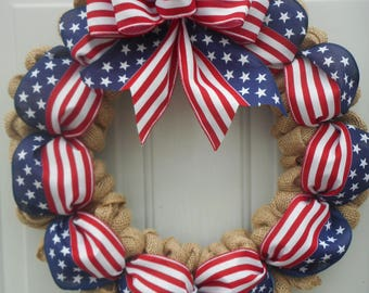Patriotic burlap wreath Burlap Patriotic wreath Memorial day wreath July 4th wreath Stars n Stripes wreath  Americana wreath RTS