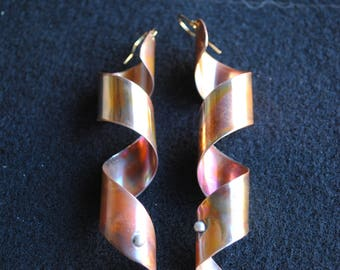 Copper earrings, Fold-formed copper, Hammered copper, Long copper earrings, Rustic earrings, Artisan jewelry