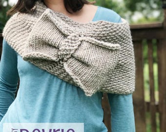 DIGITAL DOWNLOAD, Bow Cowl, Knit Cowl, Chunky Cowl, Cowl, simple cowl, oversized cowl, knitting pattern, infinity scarf, infinity cowl