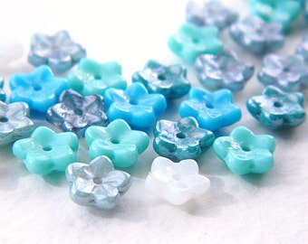 7mm Blue Spring Flower Bead Mix, Czech Glass Daisy Beads, Blue Luster Mix (50pcs) NEW