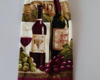 Hanging Wine Towels Kitchen Towel with Burgundy Crochet Top