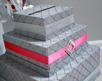 The Diva Pintuck Fabric Cardbox | Money Box | Sparkle | Crystals | Rhinesones | Card holder | Wedding | Bling | Broach | Crystal Brooch