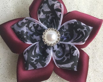 Burgundy Classic Five Petal Flower Hair Clip