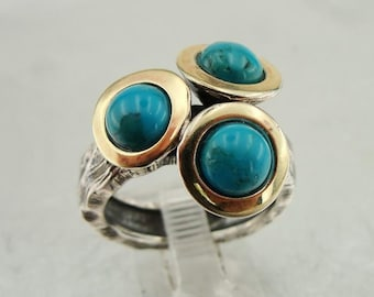 925 Turquoise ring, Handcrafted 9k yellow gold & 925 sterling Silver ring, Any size, Three stone Ring, Yellow Gold Ring, Handmade (ms 1186r)
