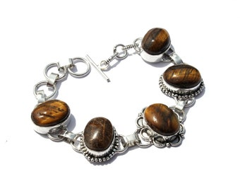 5 Stone Bracelet / Tiger Eye Bracelet / Fashion Jewelry, Fashion Bracelet / Gemstone Bracelet / Toggle Bracelet / Handmade Jewelry