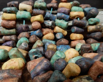 18 Hand made  large short winged  stoneware clay beads with assorted stains and copper patina, earthy, primitive, rustic….#6393