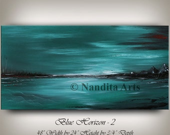 Unique Large Painting Blue LANDSCAPE ABSTRACT ART Modern Artwork Original Sunset Decor Teal Painting on Canvas 48 x 24 Artwork by Nandita