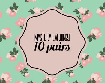 Mystery earrings, mystery box, earrings, stud, dangle, variety, gift, present, birthday, 10 pairs, jewelry, random