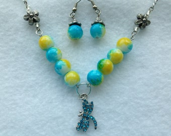 Dragonfly at the Pond Necklace and Earring Set